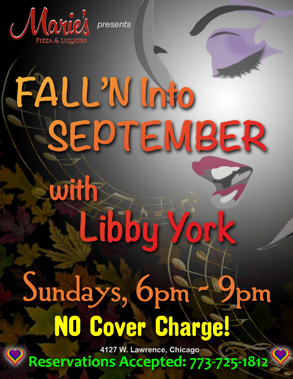 Marie's Pizza & Liquors presents FALL'N Into September with Libby York