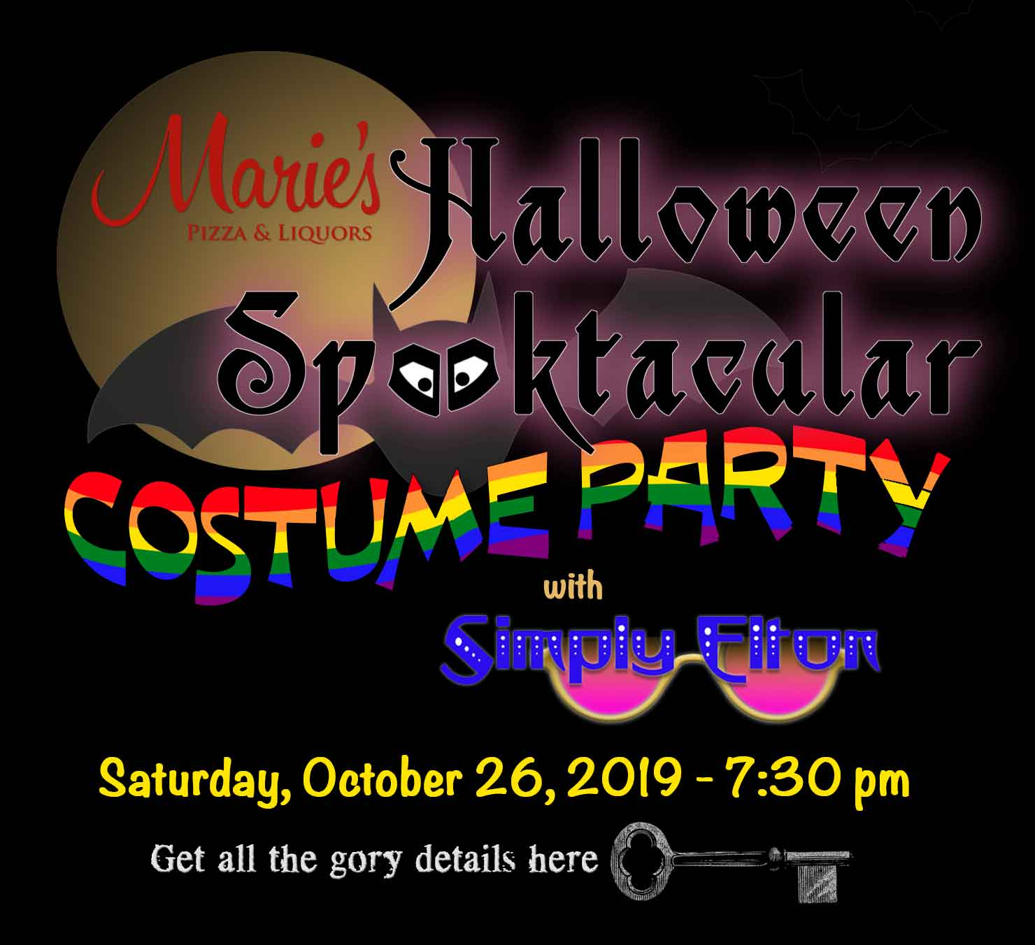 Marie's Pizza & Liquors presents a fabulous Concert in the Round with Simply Elton during our Halloween Spooktacular Costume Party